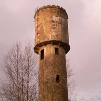 Crenelated Concrete Water Tower