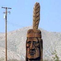 Big Hand-Carved Indian Head