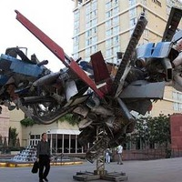 Big Junk Sculpture made of Old Airplanes
