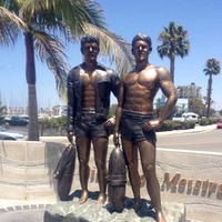 Statue of Twins Who Invented the Wet Suit