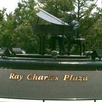Revolving Bronze Sculpture of Ray Charles, With Music