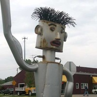 Man Made of Mufflers Mailbox