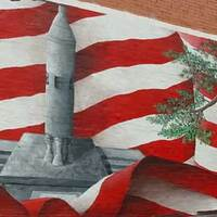 Painting of the Gus Grissom Rocket Monument