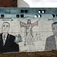 Mural of Obama, MLK, and Jesus