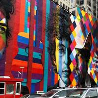 Kaleidoscopic Mural of Bob Dylan