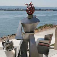 Wendy the Welder - Striding Cubist Lady Worker Statue