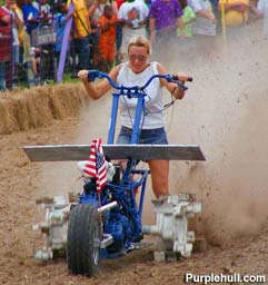 Lauri Waller,  two-time defending champion in the ladies division of the World Championship Rotary Tiller Race.