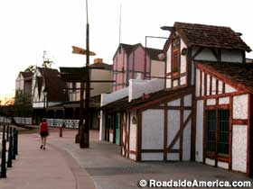 Tudor-style stores and restaurants.
