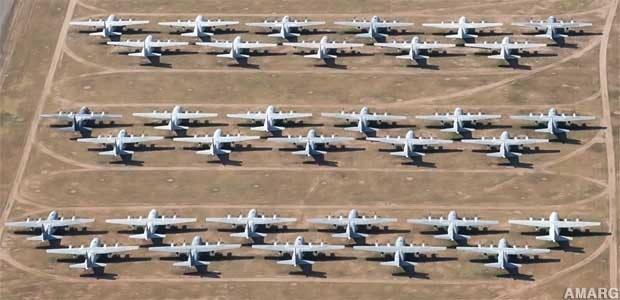 Some of the Boneyard's 4,000 aircraft. Most will never fly again.