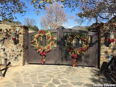 Neverland gates decked out for the holidays.