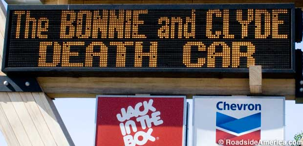Sign for the Bonnie and Clyde Death Car.