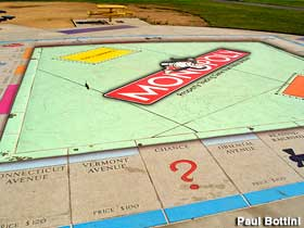 Monopoly board in park.