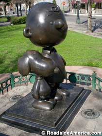 Snoopy and Charlie Brown in bronze.