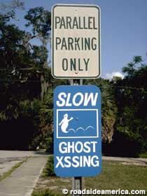 Slow - Ghost Crossing sign.