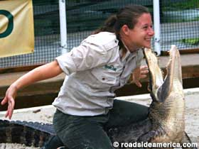 Gator Wrestler Jessica Hunter smiles for the cameras at Gatorland, Kissimmee, Florida.