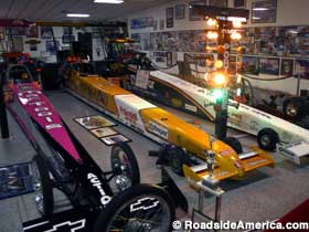 Dragsters line up at the light tower.