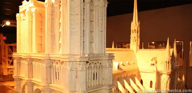 Notre Dame Cathedral in matchsticks.