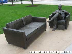 The couch and Bob Newhart statue.