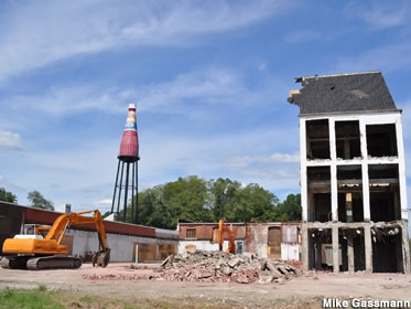 Catsup Bottle and building demoliton.