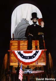 Giant Lincoln and covered wagon.