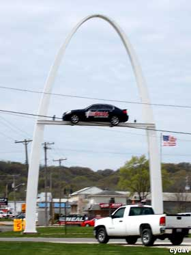 Mini St. Louis Arch, with car.