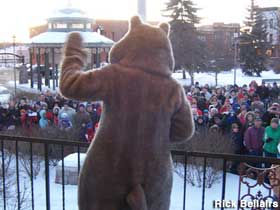 Groundhog Day mascot greet the crowd.
