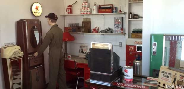 Restored gas station office.