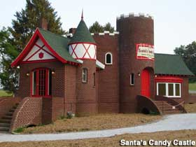 Exterior view of Santa's Candy Castle.