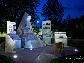 Ice Age Monument at night.
