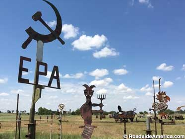 EPA and Soviet hammer and sickle.