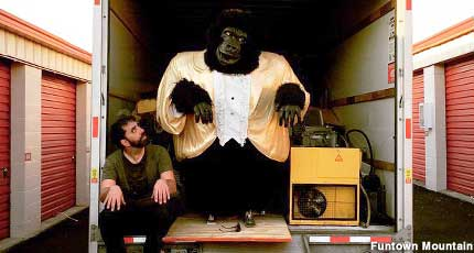 Will Russell and his animatronic gorilla pal.