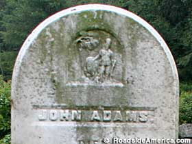 Detail of the 1860 gravestone of John Adams.