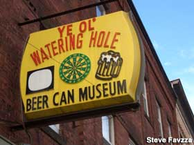 Sign for Beer Can Museum.