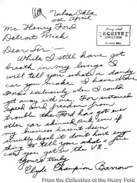 Letter from Clyde Barrow.