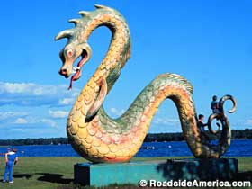 Lake Serpent statue.