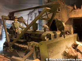 Bulldozing rubble in the Army Engineer Museum.