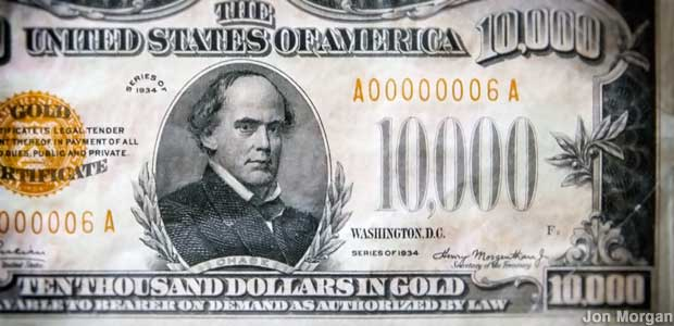 $10,000 gold certificate at the Money Museum.