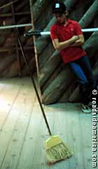 Broom stands at Blowing Rock Mystery Spot.