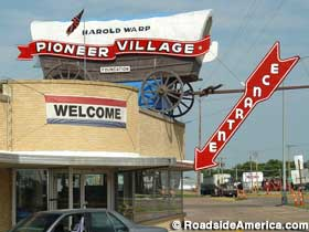 Signs and exterior of the Pioneer Village.