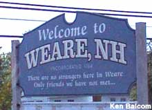 Welcome to Weare, NH, sign.