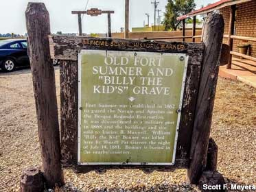 Sign for Billy the Kid's Grave.