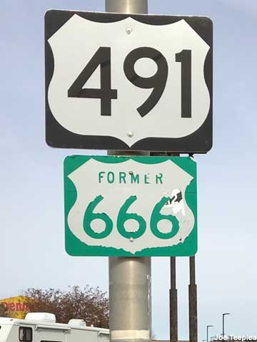 Highway sign for the Former 666.