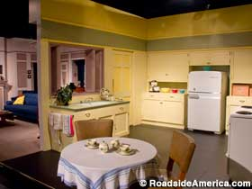 Lucy and Desi's 1953 TV kitchen, painstakingly recreated from old I Love Lucy episodes.