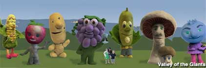 Giant fruit and veggies concept.