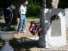 Admirers visit the grave of Uncle Sam.