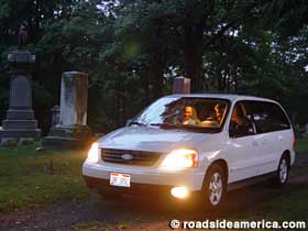 Driving in the cemetery.