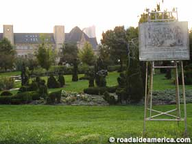 Wide view of topiary garden.