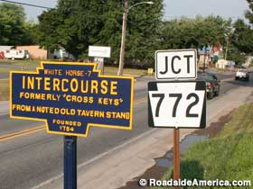 Intercourse town limits sign.