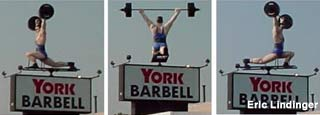 Rotating weightlifter statue at York Barbell.