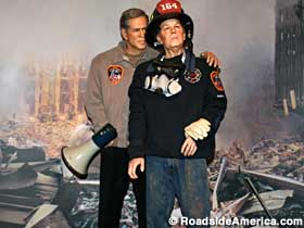 President Bush and firefighter pal.